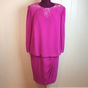 Vintage 80s/90s Pink Sequin Appliqué Party Dress